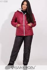 Костюм зимний: куртка прямого кроя с капюшоном и брюки высокой посадки на кулиске X11508 Фабрика Моды